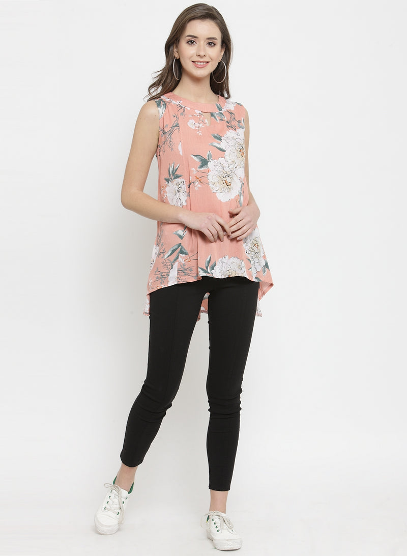 Women Peach Floral Printed Sleeveless Top