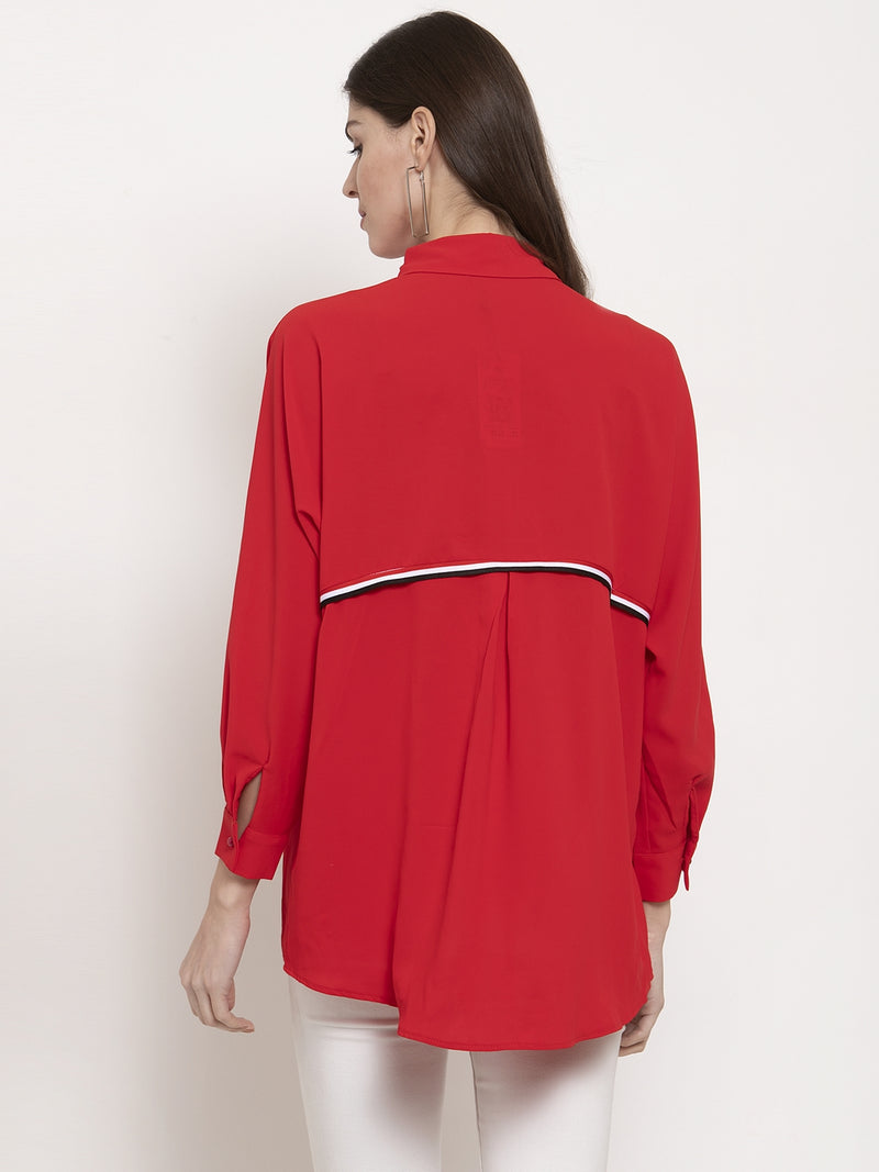Ladies Red Solid Collared Shirt
