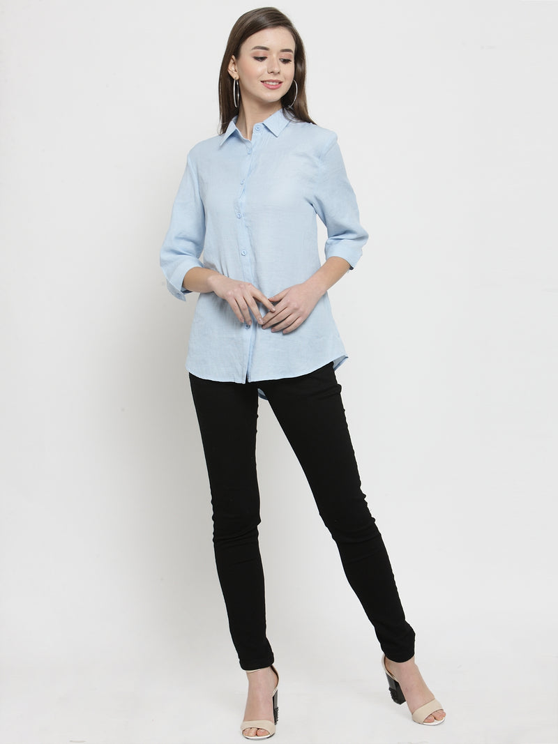Women Sky Solid Cotton Shirt