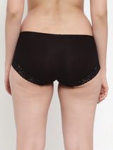 Women Black Cotton Viscose Lycra Solid Briefs