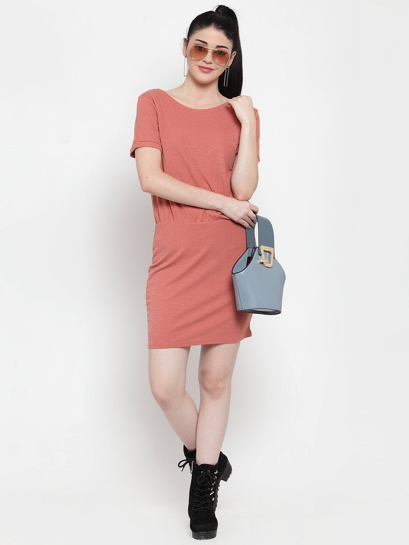 Women Peach Hosiery Solid Dress