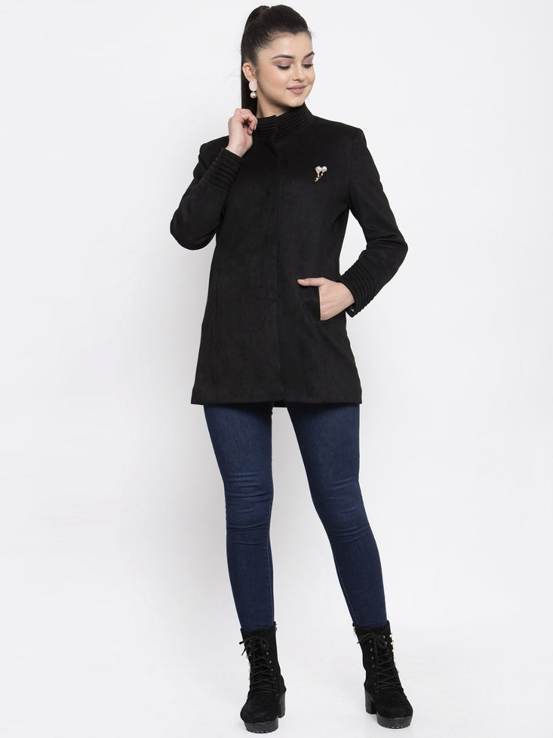 Women Solid Wine Faux Velvet Coat