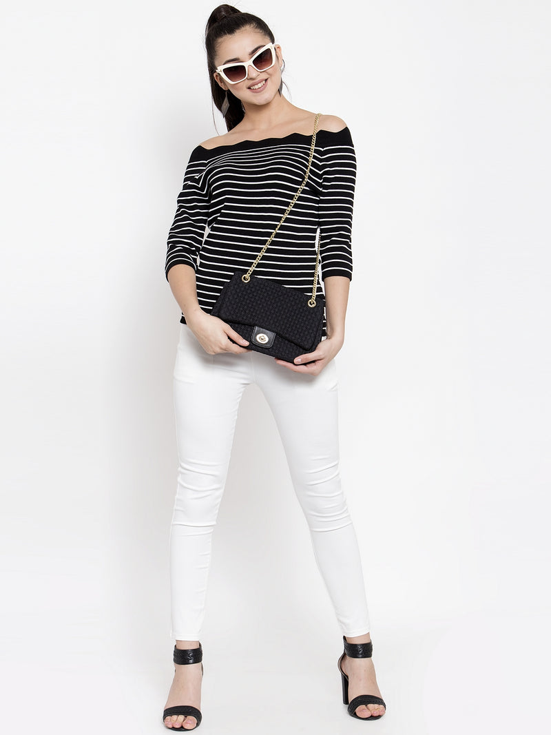 Women Striped Black Off-Shoulder Top