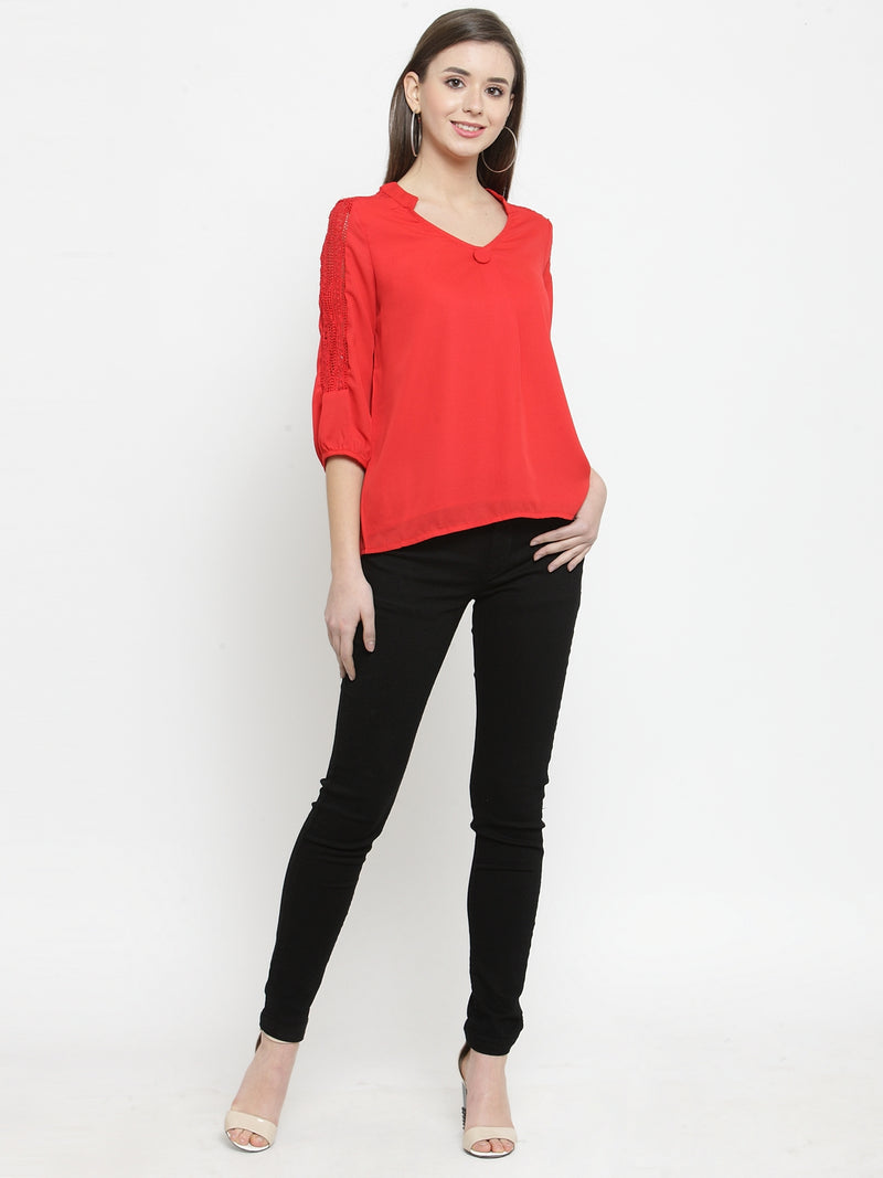 Women Red Mandarin Collar Top With Lace Details
