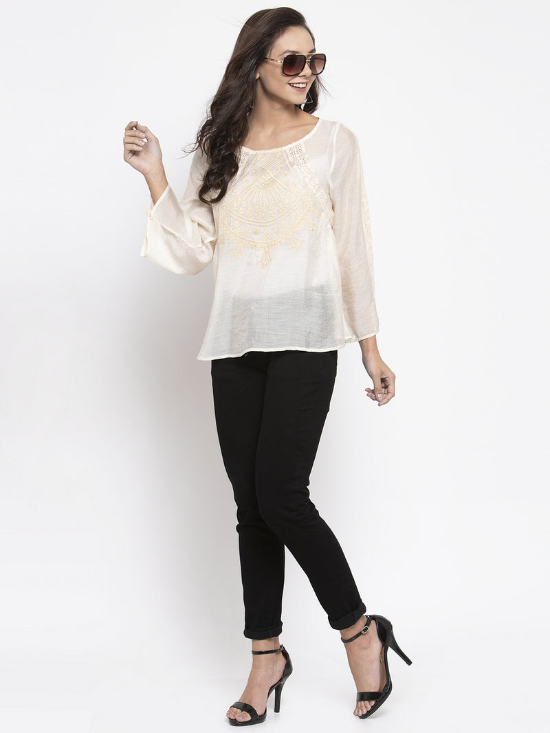 Women Cream Embroidered Top With Crochet Details