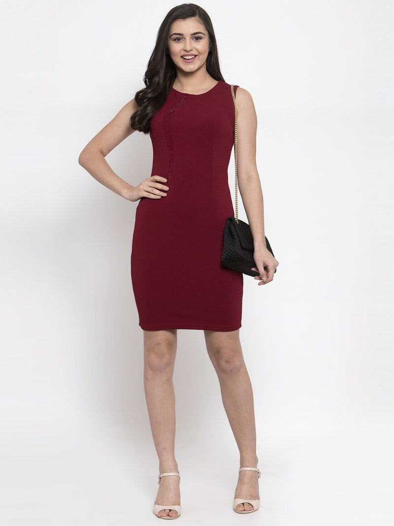 Women Embellished Maroon Bodycon Dress