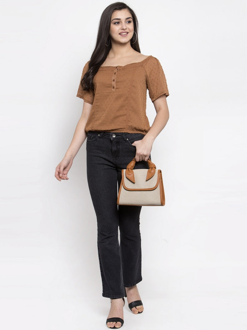 Women Brown Sheer Top With Crochet Detail