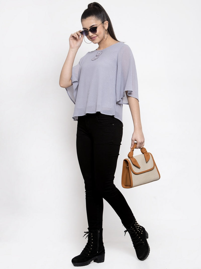 Women Solid Grey Sheer Top