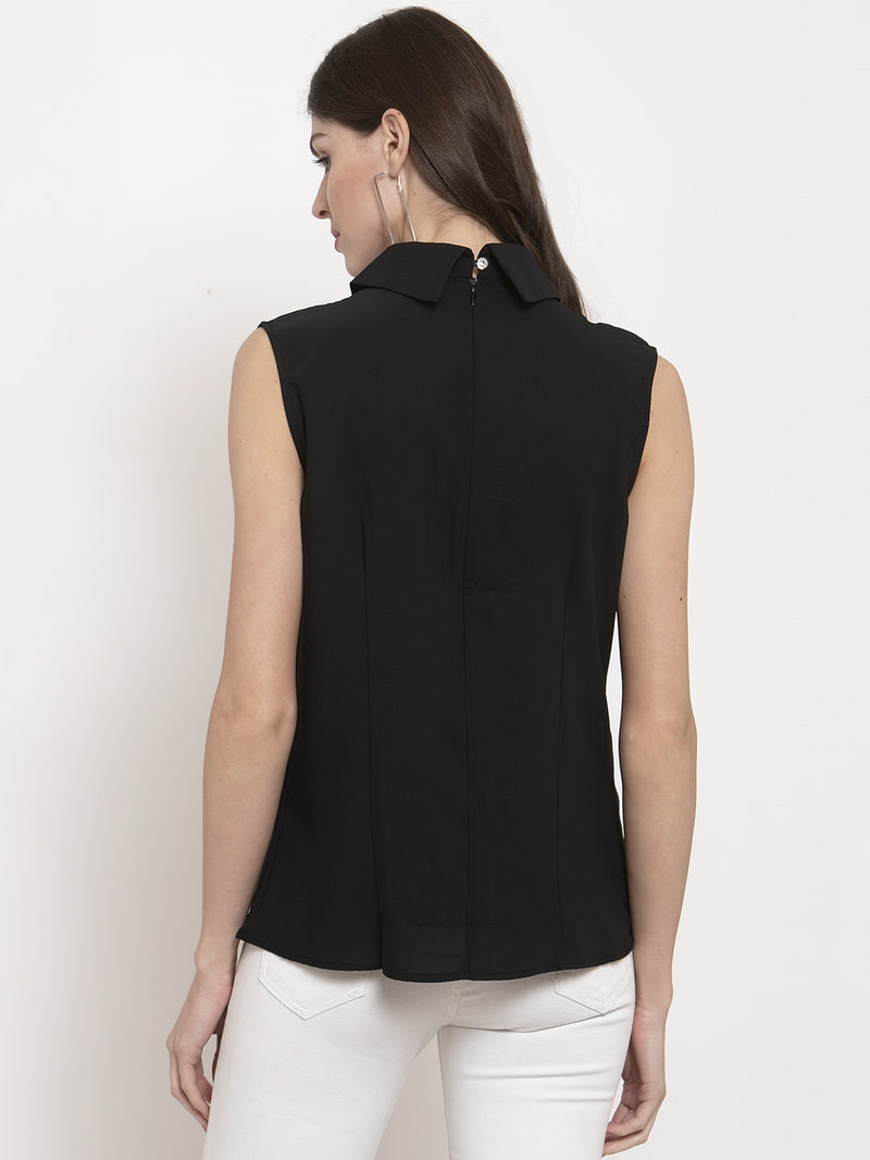 Ladies Black Solid Collared Top