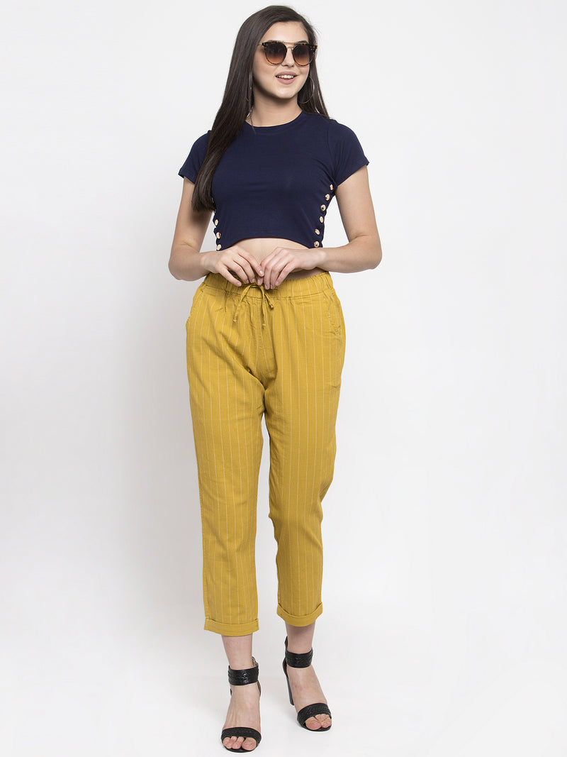 Women Relaxed Fit Striped Mustard Lower