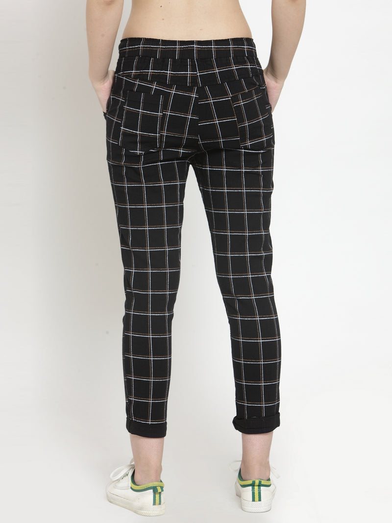 Women Checked Black Polyester Lower