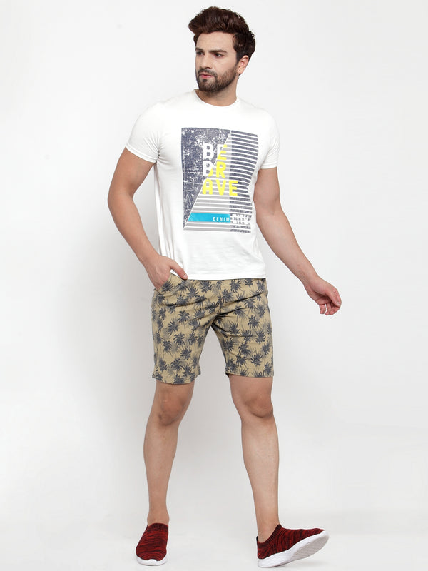 Mens Beige Cotton Linen Printed Short