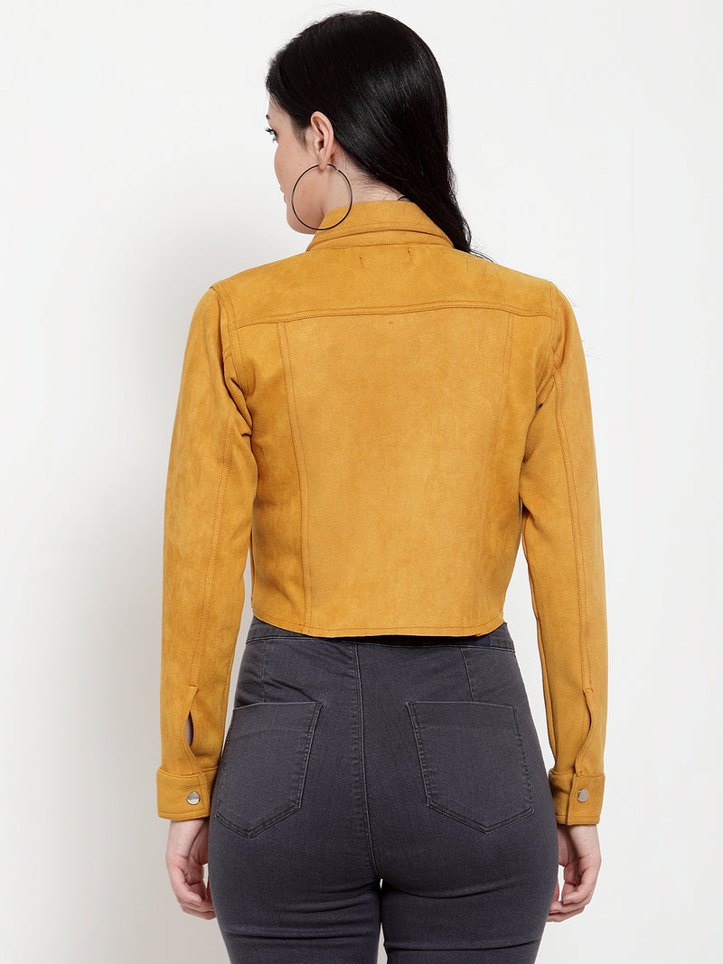 Women Mustard Sweet Solid Jacket