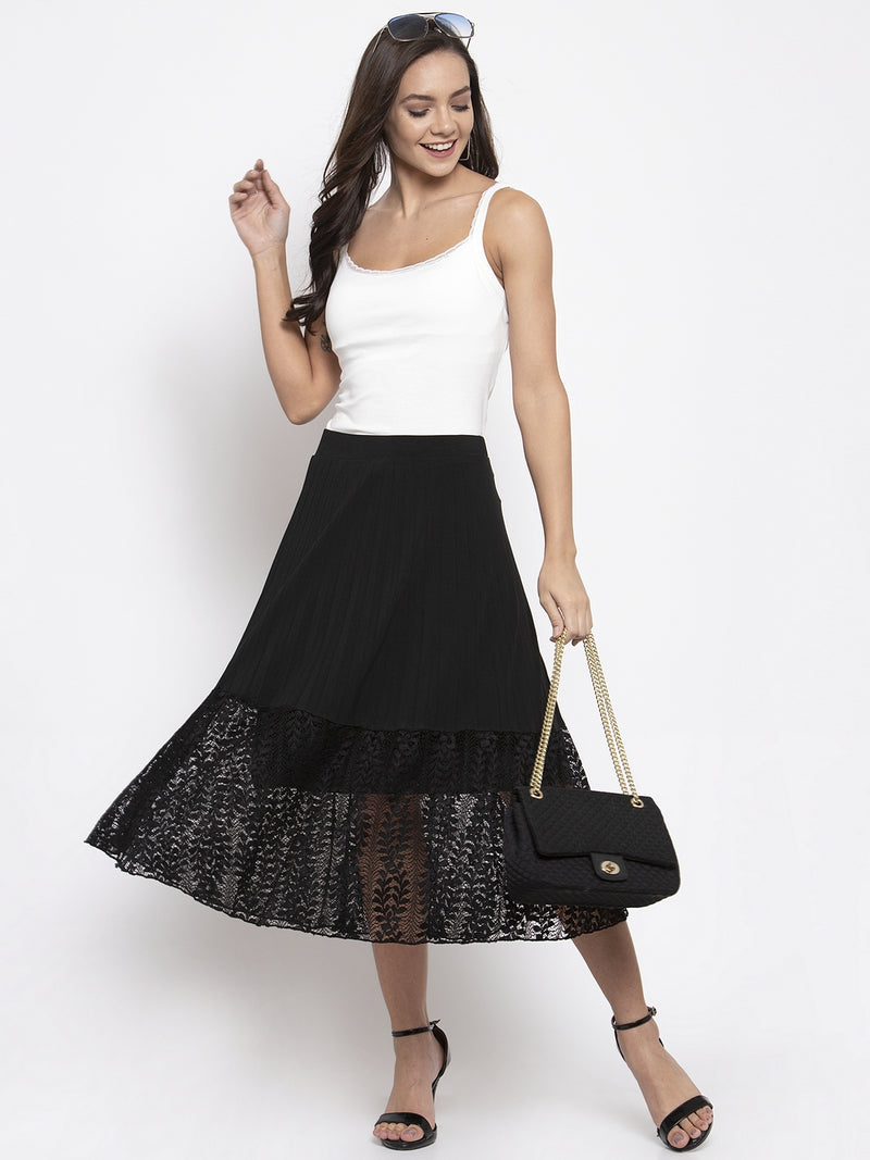 Women Solid Black Pleated Skirt With Lace Panel
