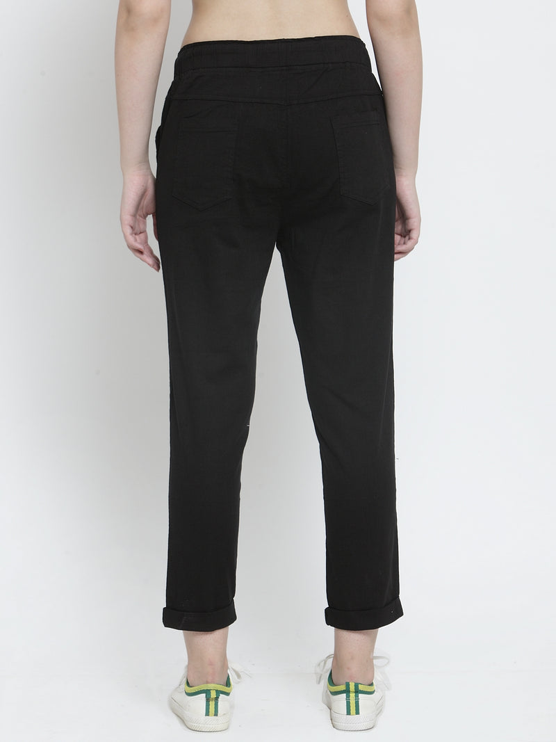 Women Black Solid Tapered Fit Lower