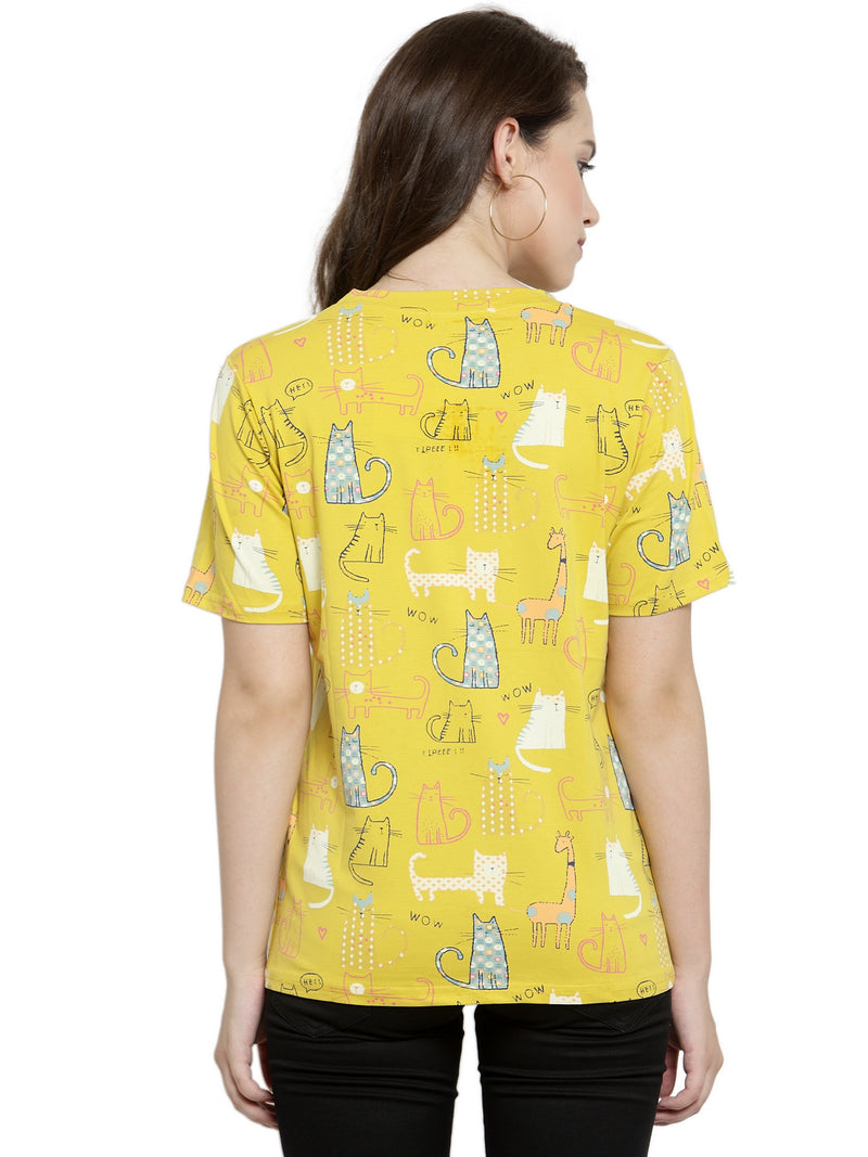 Women Regular Fit Printed Yellow Tops