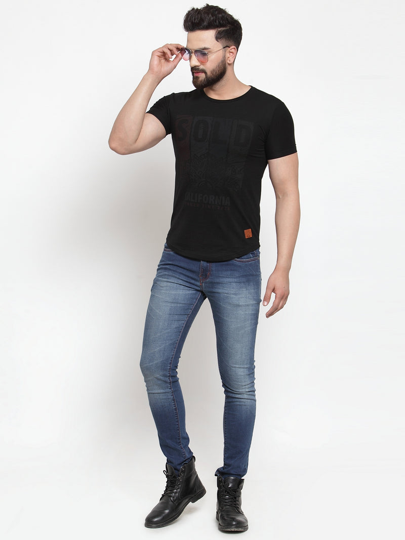 Mens Black Printed Round Neck Regular Fit T-Shirt