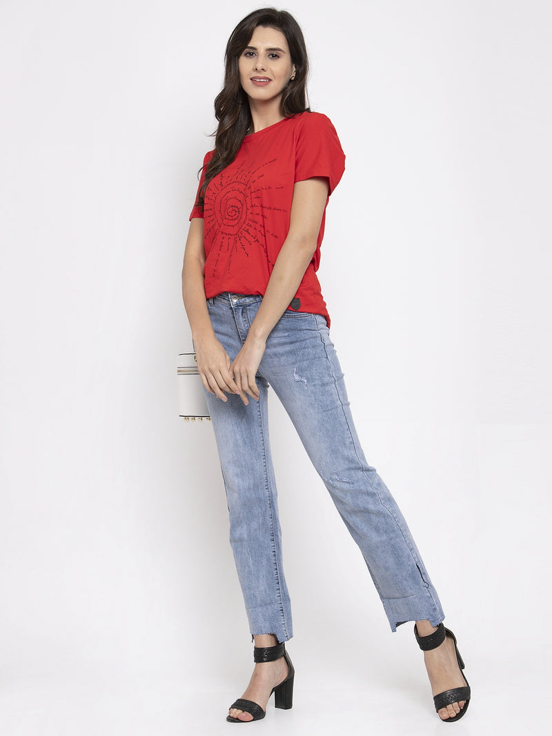 Women Light Blue Denim Straight Fitted Jeans