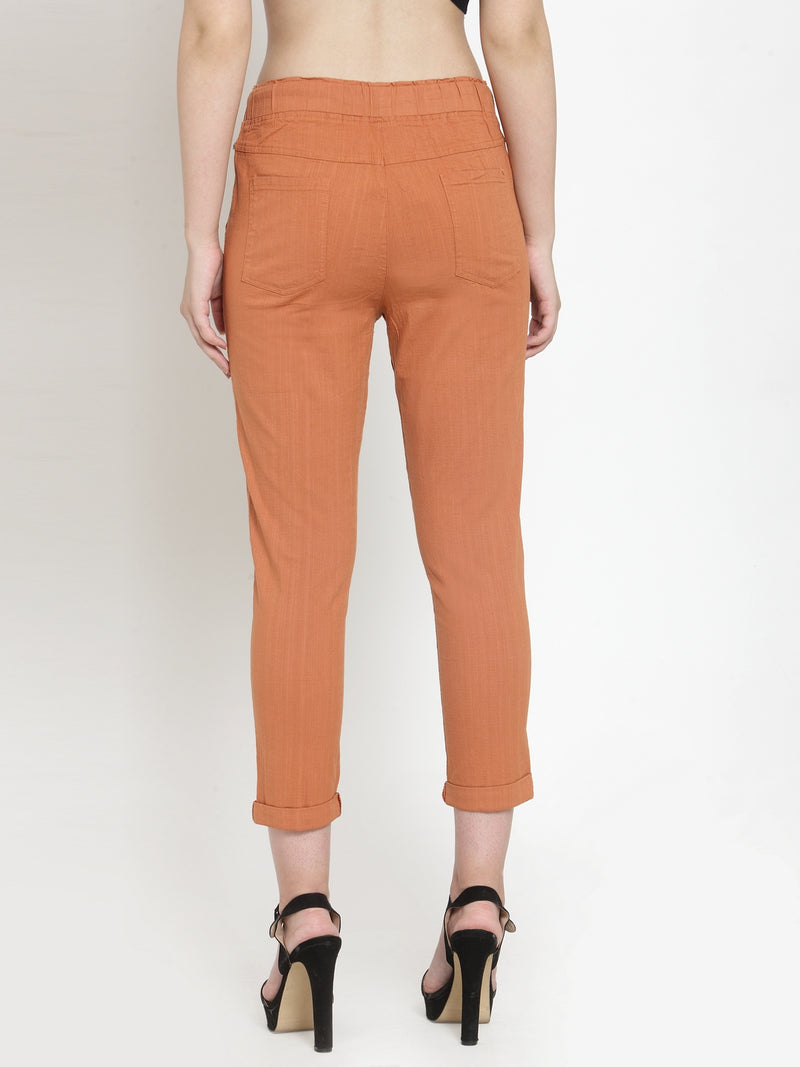Women Rust Solid Tapered Fit Lower