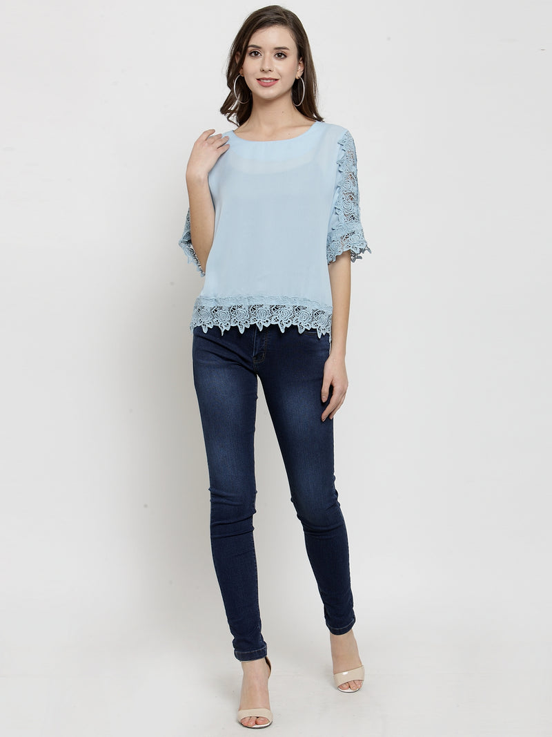 Women Blue Laced Polyester Top.