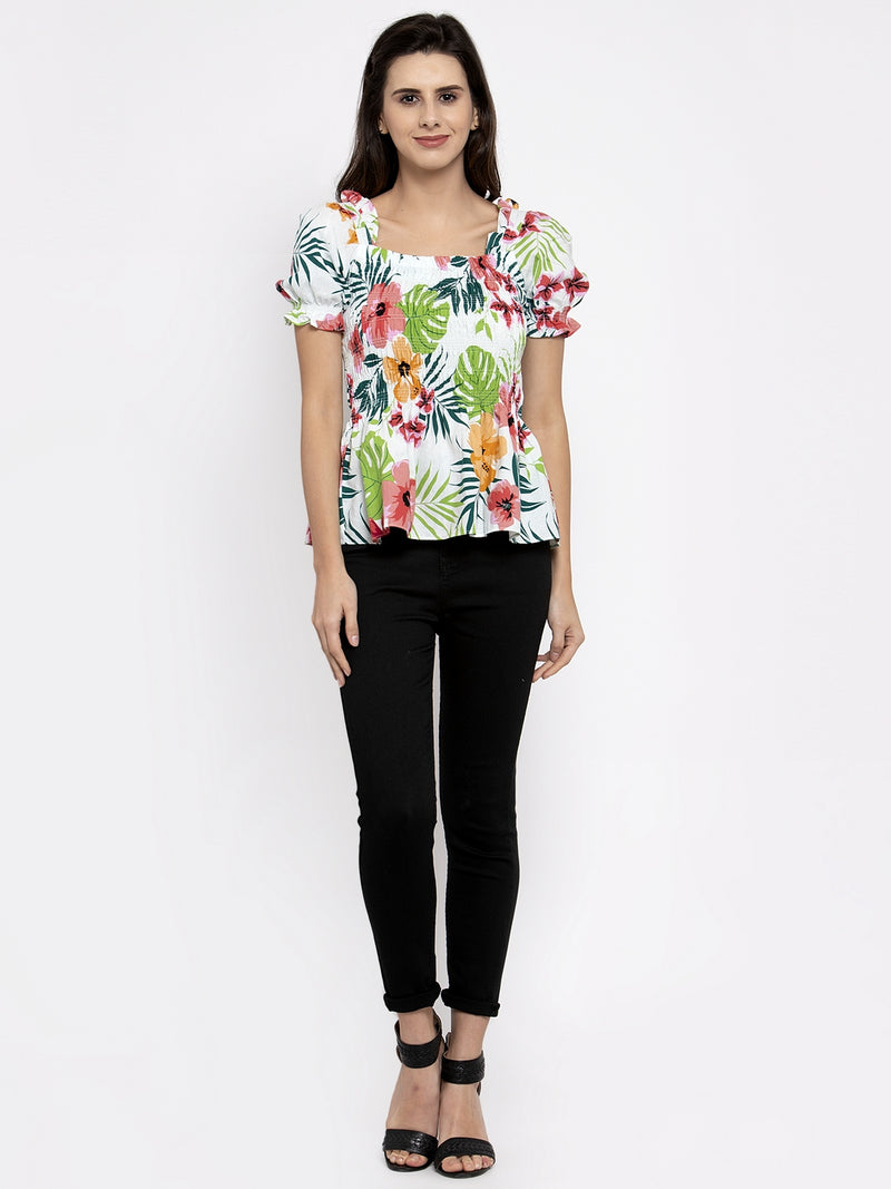 Women Printed White Square Neck Top With Puffed Sleeve