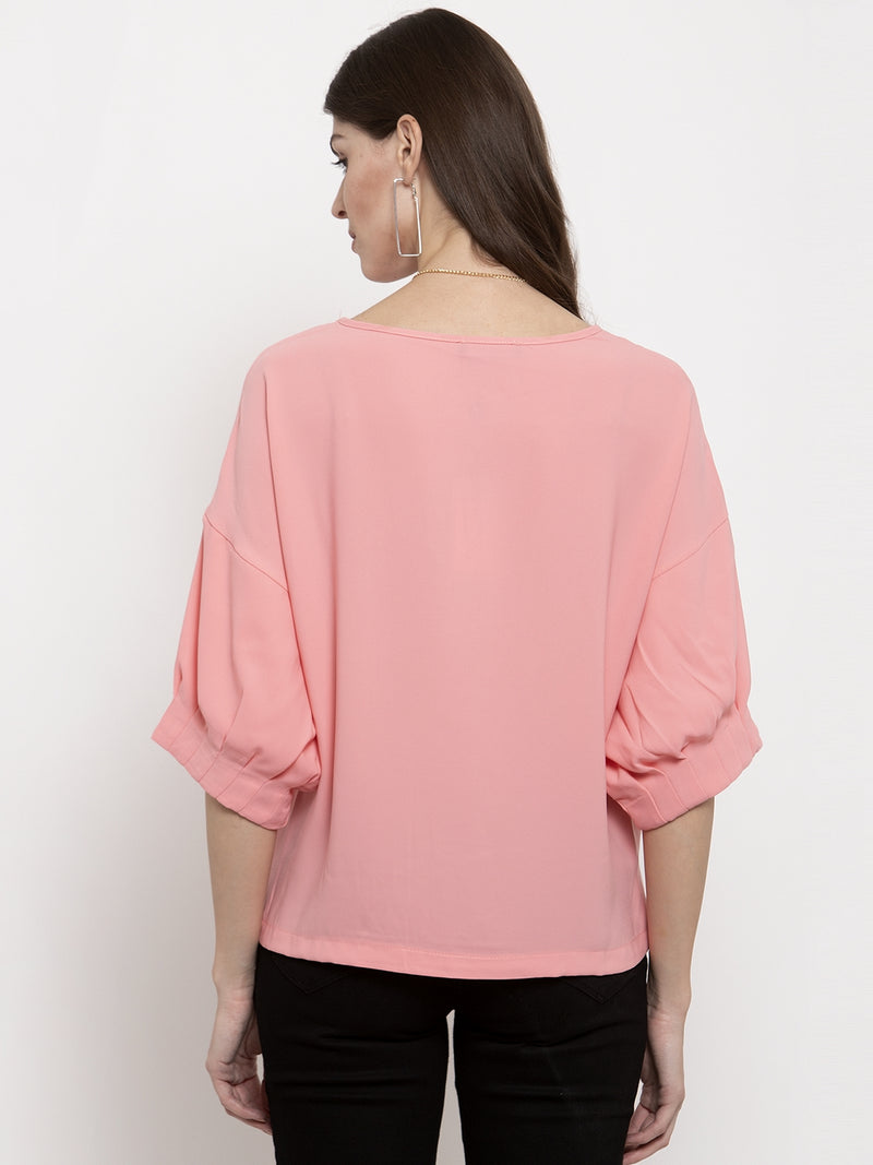 Ladies Fuscia Solid Round Neck Top