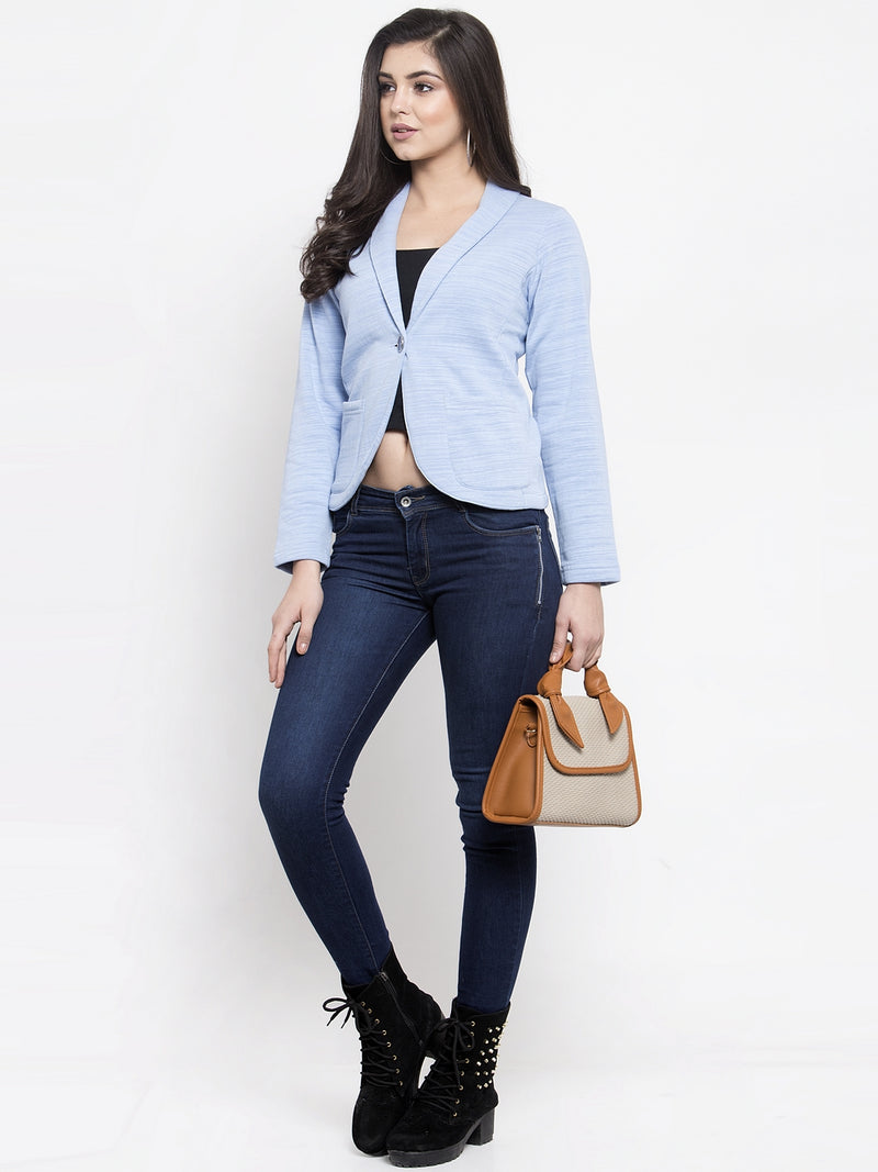 Women Solid Blue Shawl Collar Blazer