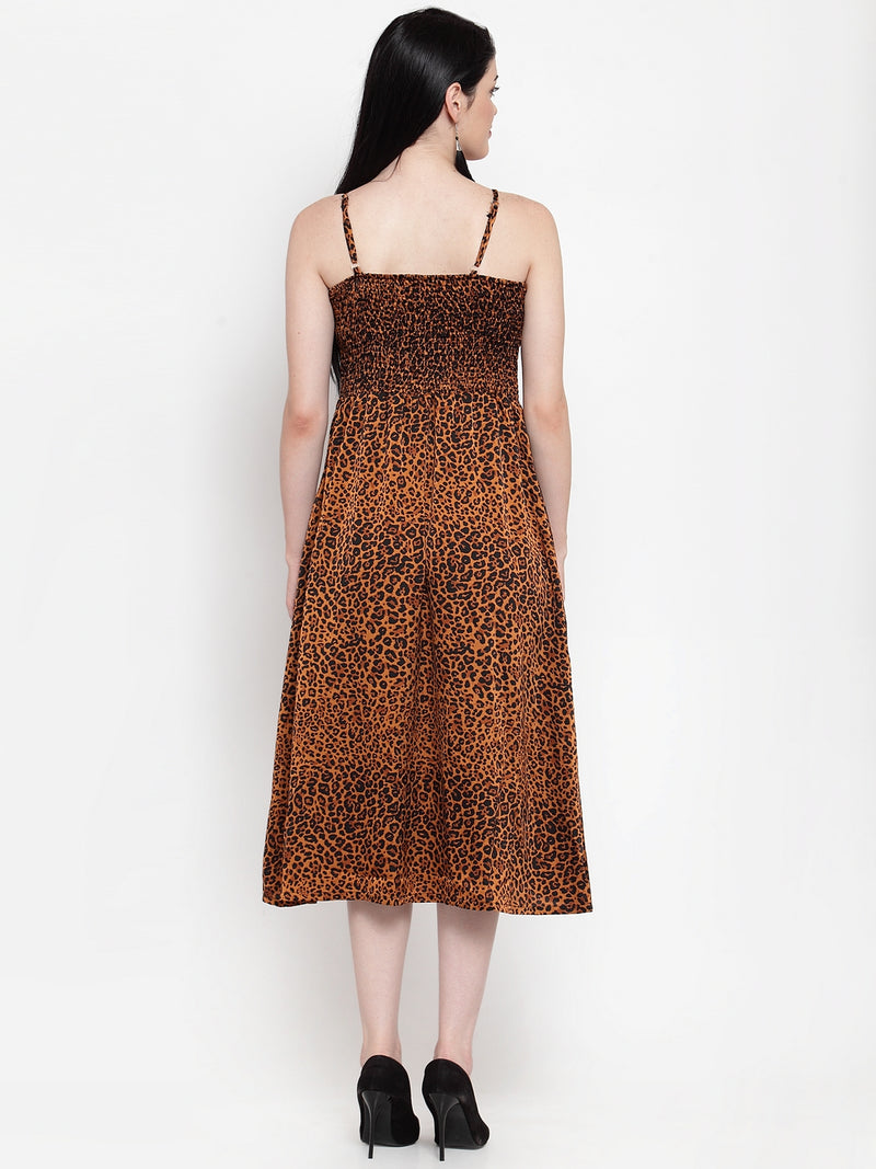 Women Animal Print  Rayon Printed Sun Dress
