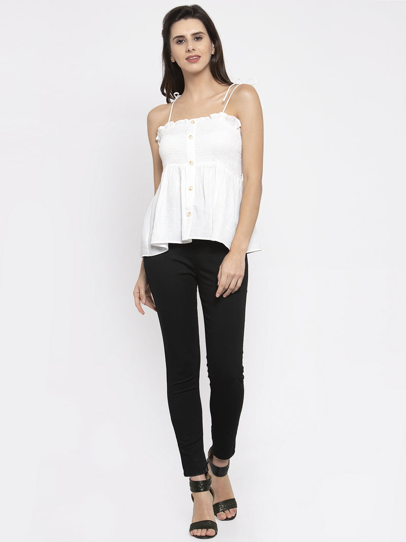 Women Solid White Top With Tie-Up Spaghetti Straps