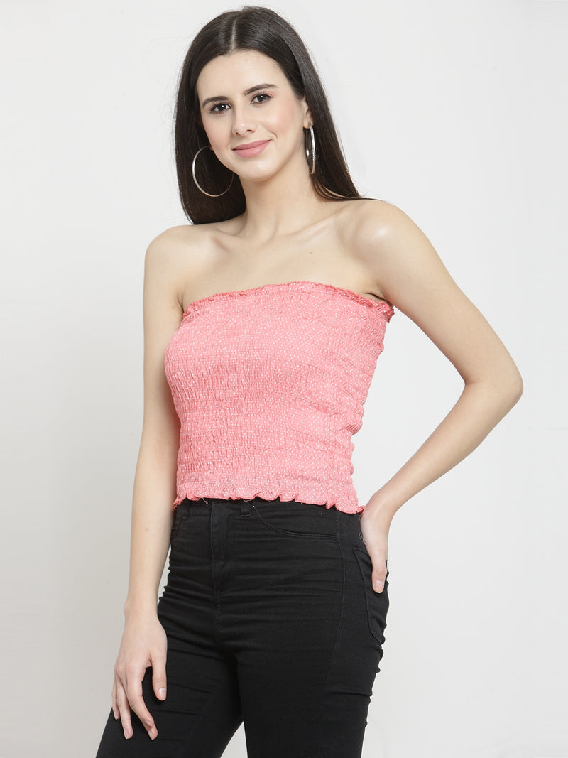 Women Solid Pink Tube Top