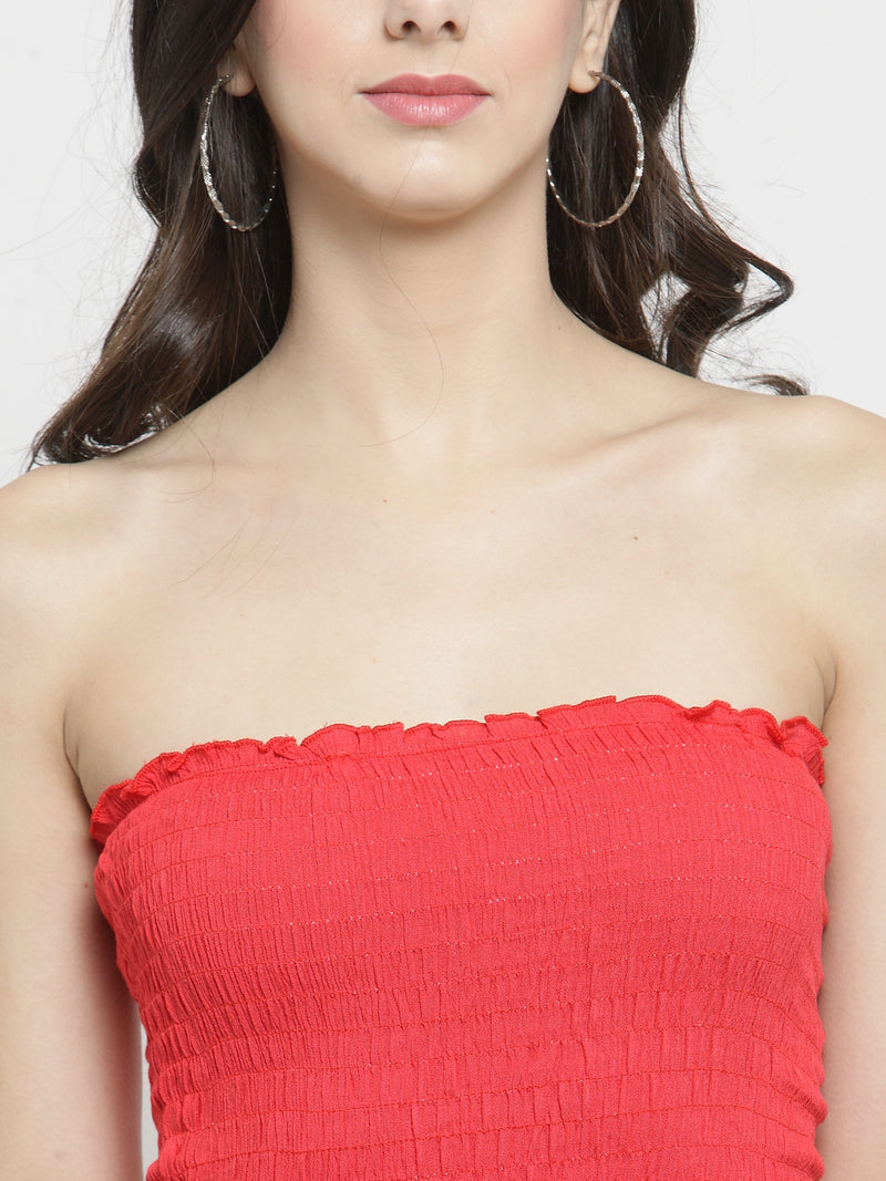 Women Solid Red Tube Top