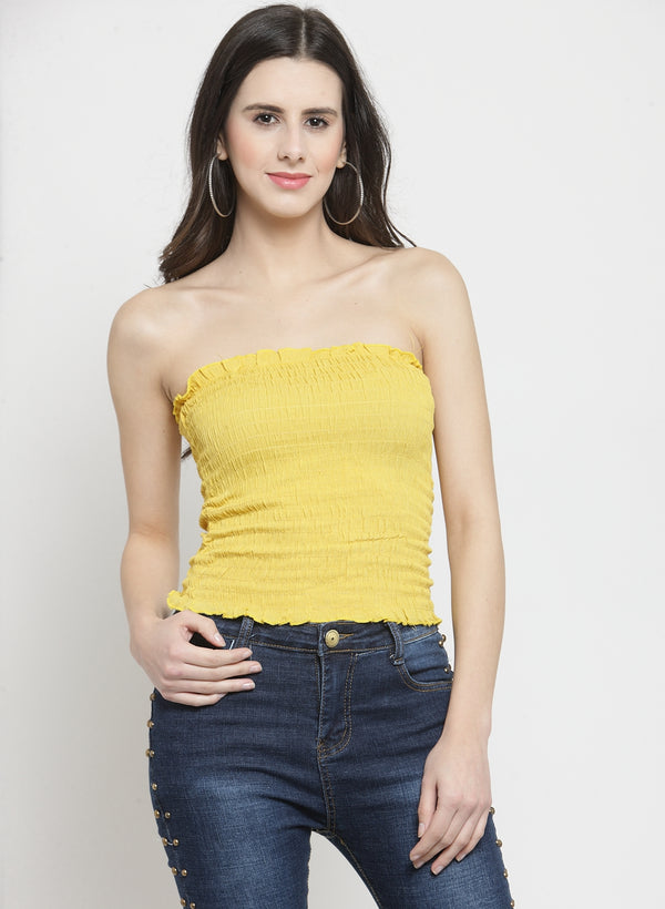 Women Solid  Yellow Tube Top