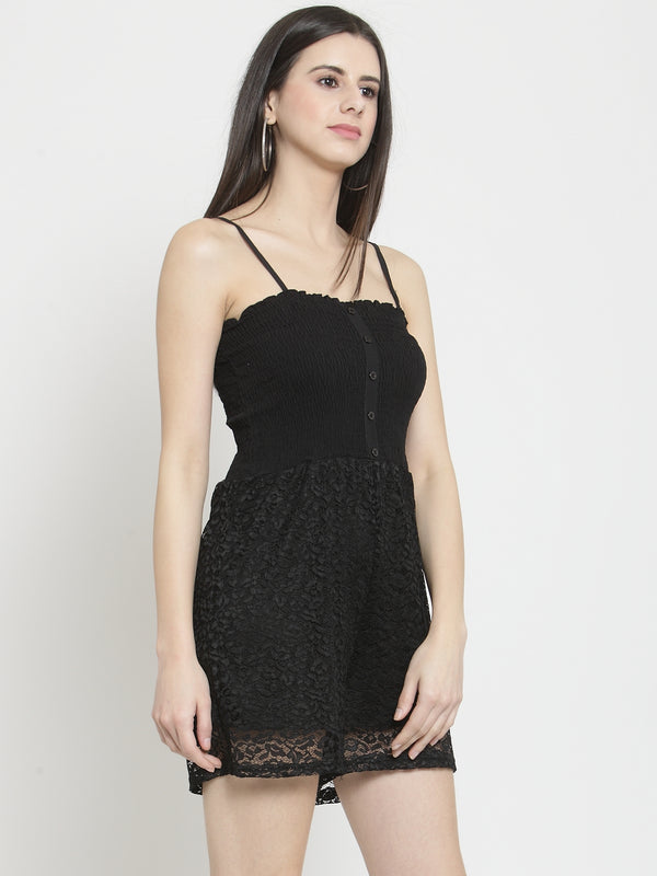 Women Solid Black Lace Playsuit With Smocking