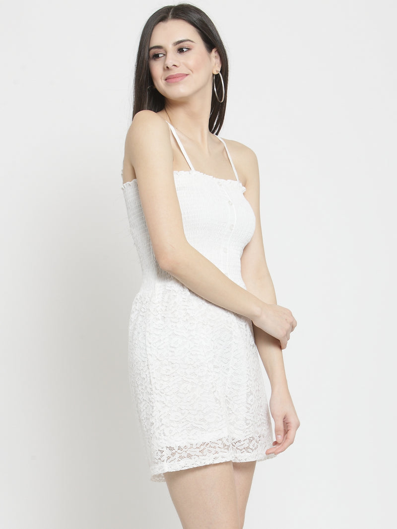 Women Solid White Lace Playsuit With Smocking