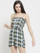 Women Green Checked Jumpsuit With Smocking