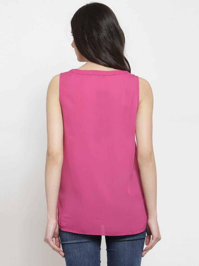 Women Bright Pink Round Neck Regular Fit Shirt