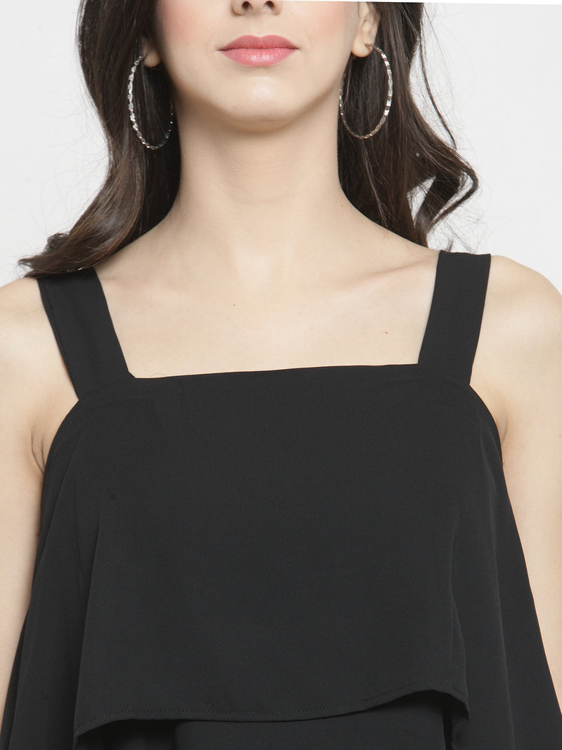 Women Black Solid Square Neck Tops