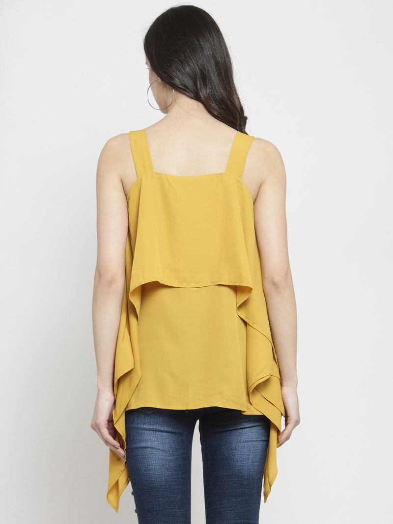 Women Mustard Solid Square Neck Tops
