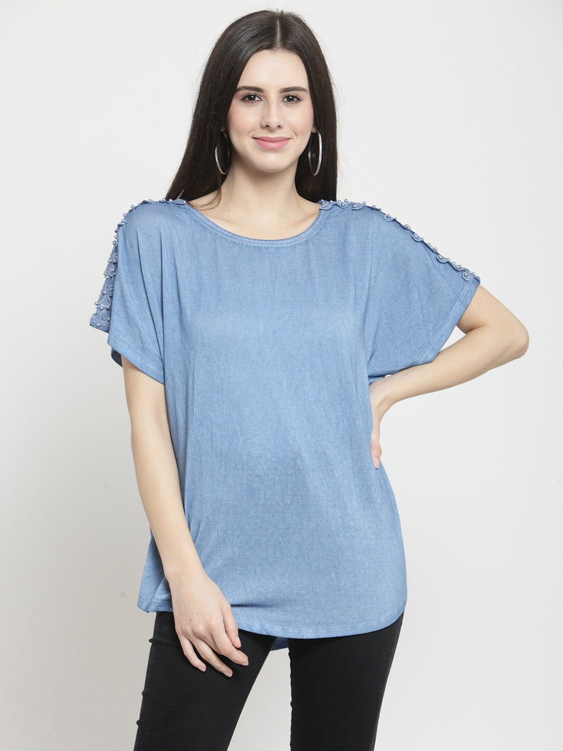 Women Blue Solid Round Neck Regular Fit Tops