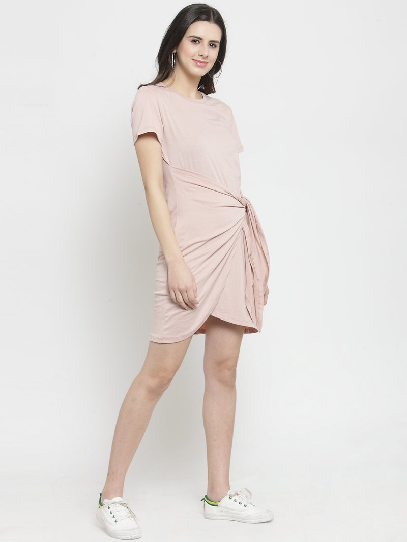 Women Pink Hosiery Draped Solid Dress