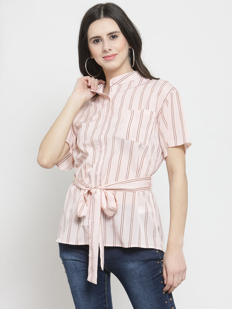 Women Pink Striped Mandarin Collar Shirt