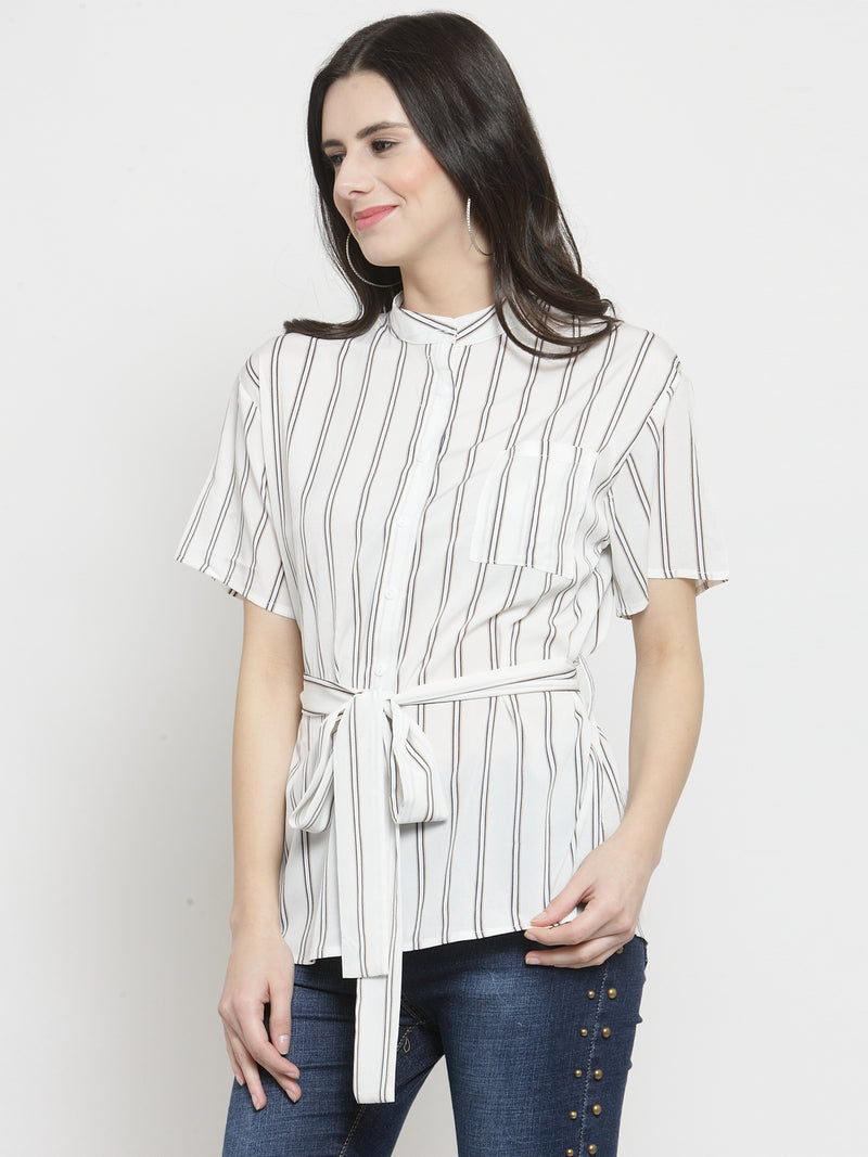 Women White Striped Mandarin Collar Shirt