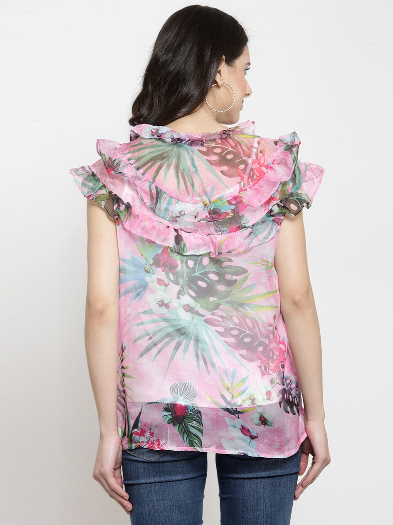 Women Pink Printed Round Neck Top With Ruffles