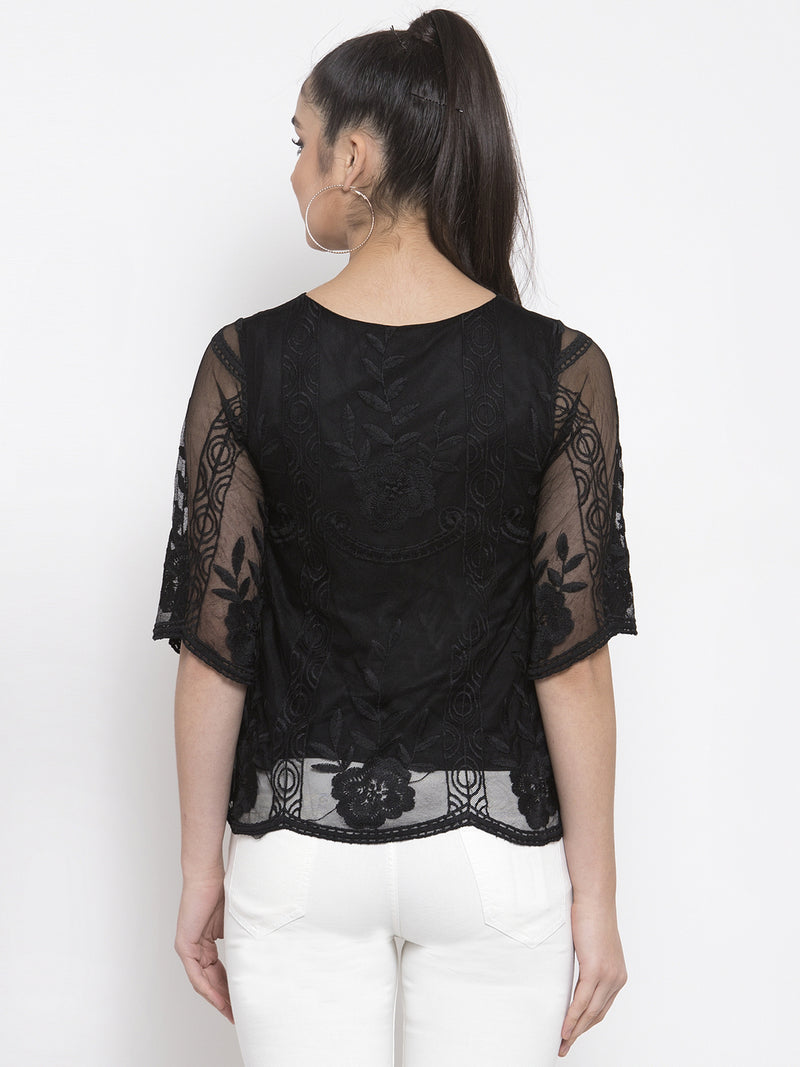 Women Embroidered Black Round Neck Net Top