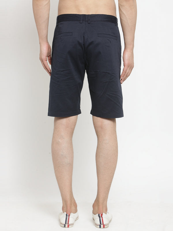 Men'S Solid Navy Blue Shorts
