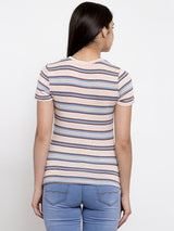 Women Striped Pink Round Neck Tshirt