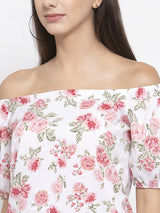 Women Flower Print White Off Shoulder Top