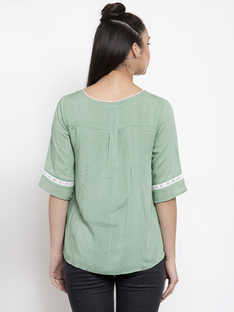 Women Solid Green Top With Crotchet Details