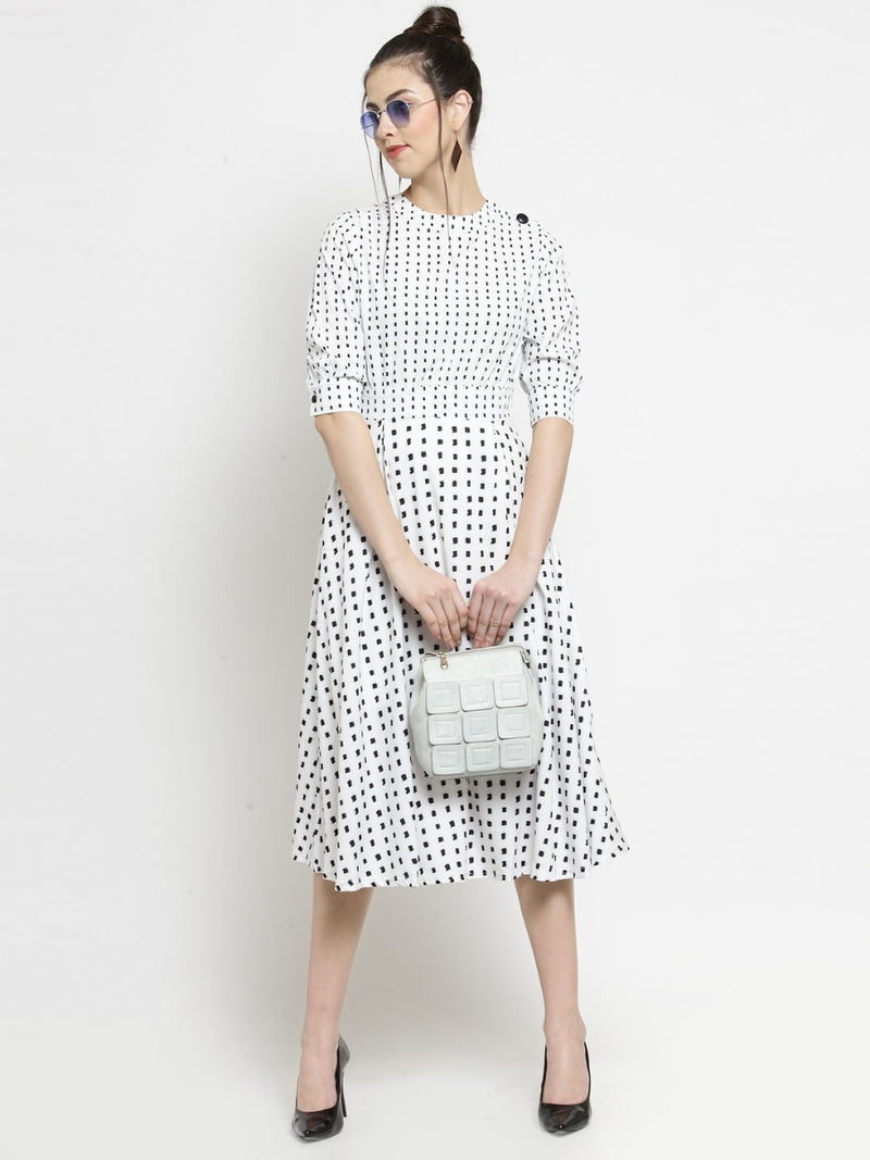Women Printed White Round Neck Dress