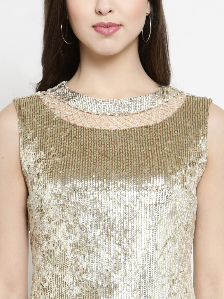 Women Embellished Gold Jewel Neck Dress